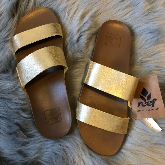 dcbca444b Reef Shoes | Nwt Cushion Bounce Vista Slides In Champagne | Poshmark